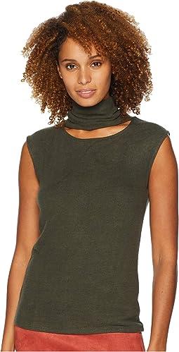 Sleeveless Turtleneck Sweater w/ Front Neck Cutout