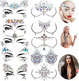 Le Fu Li 10 sets Face Gems Stickers Breast Body Jewelry Stickers Crystal Nipple Tattoo Stickers for Festival Rhinestone Decorations Tattoo Stickers