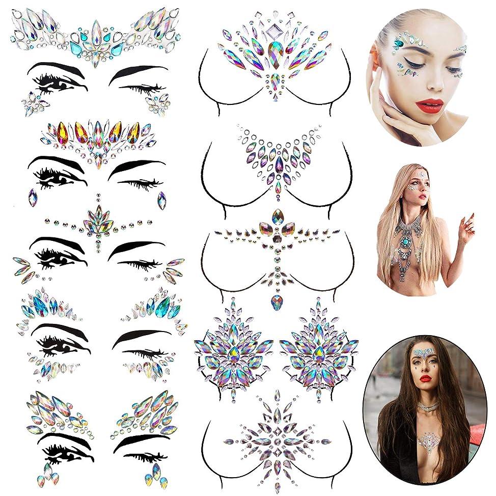 Le Fu Li 10 sets Face Gems Stickers Breast Body Jewelry Stickers Crystal Nipple Tattoo Stickers for Festival Rhinestone Decorations Tattoo Stickers dtzgnwmx468