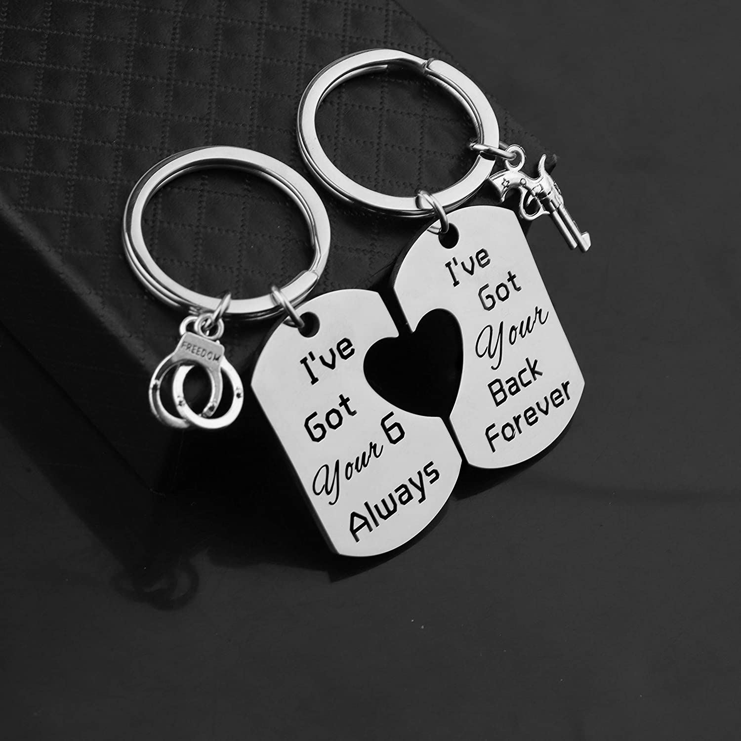 TIIMG Police Gift Ive Got Your 6 Always I Have Got You Back Forever Keychain Military Wife Gift Support Law Enforcement Keyring Sheriff Gift Police Officer Couple Gift