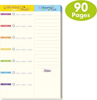 Weekly Meal Planner Shopping List Note Pad with Tear Off Perforated Line and Magnet Mountings (90 Pages 6