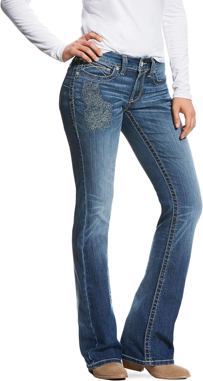 ARIAT Women's R.e.a.l Mid Rise Folk Flower Boot Cut Jean