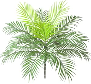 Rozwkeo Artificial Tropical Palm Leaf Bushes Faux Green Fronds Plant in Plastic Areca Palm Plant 15 Leaves Palm Tree 63 cm Tall for Tropical Greenery Accent Floral Arrangement Home Wedding Decor