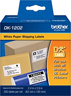 Brother Genuine DK-1202 Die-Cut Shipping Paper Labels, Long Lasting Reliability, 300 Labels Per Roll, (1) Roll per Box
