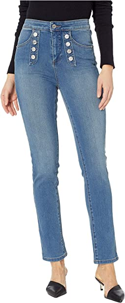 Five-Pocket High-Rise Button Front Skinny Jeans in Mid Authentic Wash