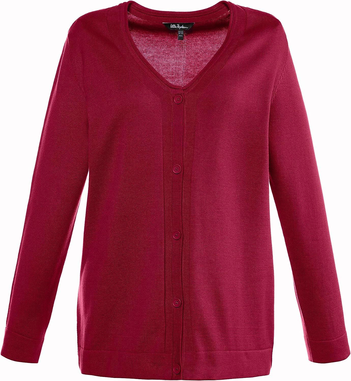 Ulla Popken Women's Plus Size V-Neck Button Front Cardigan Magenta 24/26 707484 56