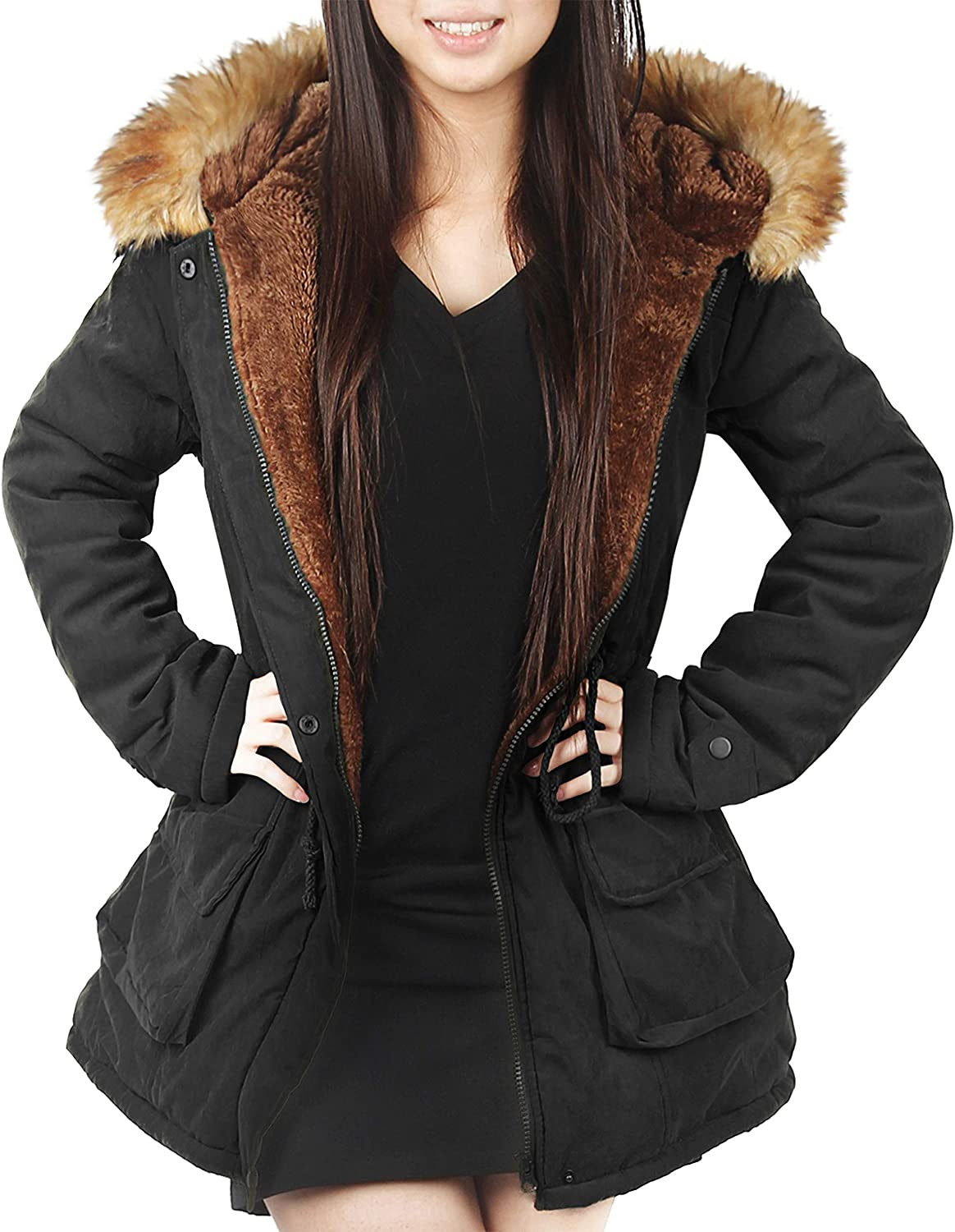 4How Women's Long Down Jacket Hooded Thickened Parka Puffer Jacket Warm Winter Coats with Faux Fur Trimmed