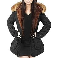 4HOW Womens Hooded Parka Jacket... 4HOW Womens Hooded Parka Jacket Warm Winter Coat Faux Fur Trim