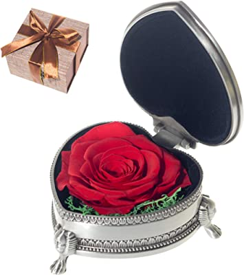 Handmade Forever Preserved Fresh Flower Eternal Real Rose with Classical Metal Box,Eernal Life Flowers for Love Ones, Gift for Valentine's Day, Christmas Eve, Anniversary,Christmas