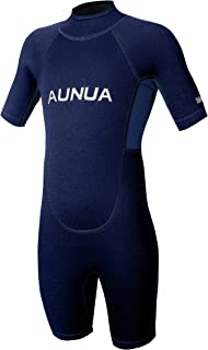 Aunua Children's 3mm Youth Swimming Suit Shorty Wetsuits Neoprene for Kids Keep Warm