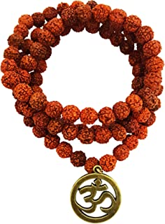 Mehrunnisa Metal 108 Rudraksha Necklace Mala with OM for Men and Women (Brown)