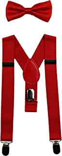 Baby Suspenders and Bow Tie Set (Elastic Adjustable-Fits Baby to Toddler)
