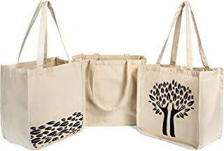 Printed Reusable Grocery Shopping Bags 3 Pk 12 Oz. 100% Cotton Canvas Premium Quality Durable Sturdy 14