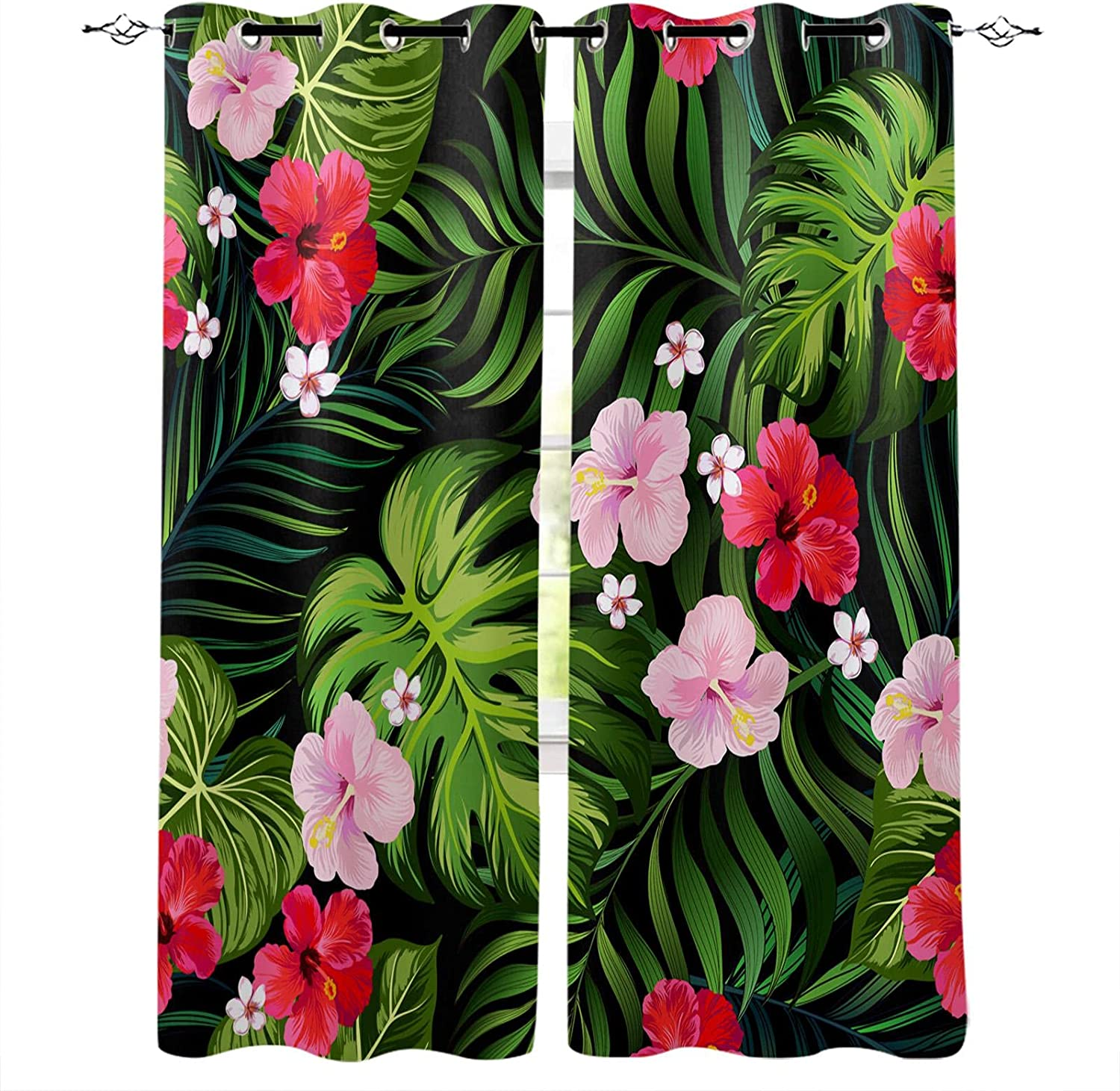 ADKMC Blackout Curtain for Bedroom Flowers Plants Ranking Challenge the lowest price of Japan integrated 1st place Green - Three-