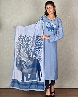 Kasturi-B Women's Blue Muslin Stitched Suit With Machine Embroidery