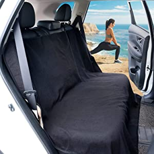 Leader Accessories Waterproof Black Sweat Towel Pet Dog Car Seat Cover Rear Bench Bucket Seat Protector Machine Washable Non-Slip Size 55 quot  59 quot   140 x150CM  Black