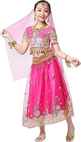 XG-jupe VêteHommests de Danse du Ventre pour Enfants VêteHommests de Danse Indienne VêteHommests de Perforhommece Bollybois Costumes nationaux pour Enfants VêteHommests Indiens