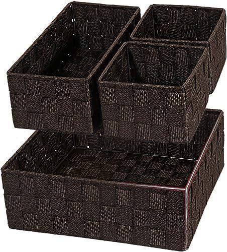 Posprica Woven Storage Drawer Closet Dresser Organizer Bins Basket for Nursery, Office, Home Décor, Shelf Cabinet, Se...