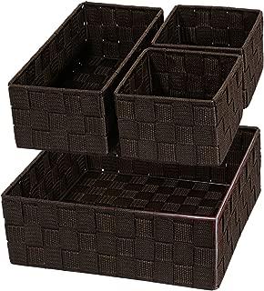 Posprica Woven Storage Drawer Closet Dresser Organizer Bins Basket for Nursery, Office, Home Décor, Shelf Cabinet, Set of 4,Brown