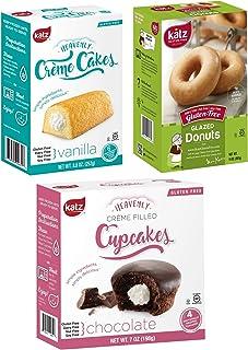 Katz Gluten Free Snacks Top 3 Sellers Variety Pack | Gluten Free, Dairy Free, Soy Free, Nut Free | Glazed Donut, Vanilla Creme Cake, Chocolate Creme Cupcake | Kosher (1 Pack of each, 3 Total)