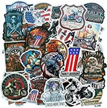 Motorcycle Mens Adults Sticker Pack(100-pcs), No Repeat Halley Davidson Van Truck Bumper Stickers for Moto Laptop ATV Car Bike with Waterproof PVC