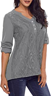 Women's V Neck Lace Cuffed Long Sleeve Casual Blouses Shirt Tops