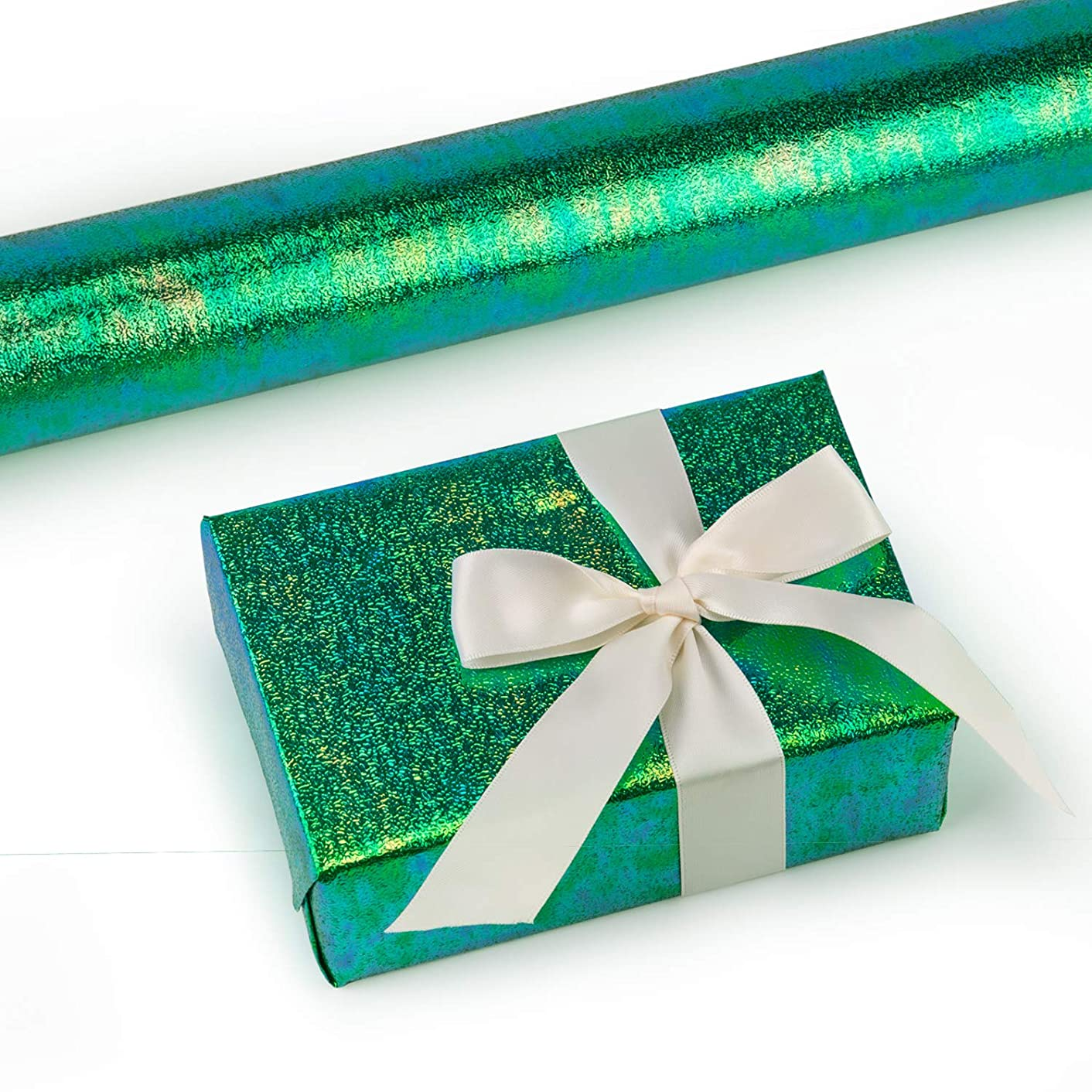 RUSPEPA Gift Wrapping Paper Roll- Green Paper with Rainbow Shiny for Wedding,Birthday, Shower, Congrats 81.5 Sq Ft - 30Inch X 32.8 Feet Per Roll