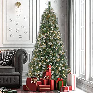 ANOTHERME Snow Pine Christmas Tree 7.5 Ft Feel Real, Pre-Lit 700 Warm Lights UL Certified, Hinged Artificial Xmas Tree Pine Flocked Include Storage Bag