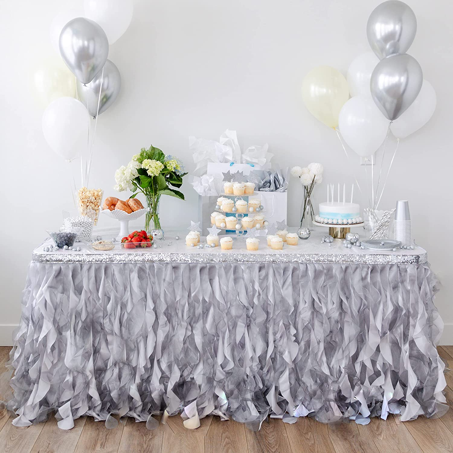 Bluekate Grey Silver Table Many popular brands Skirt 9ft. Double Trims Two Organza P shopping