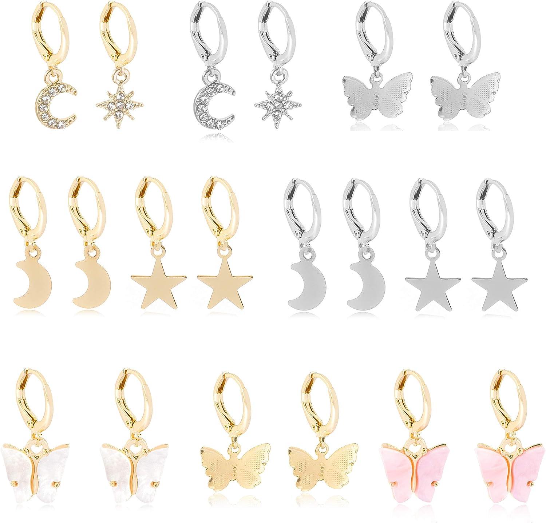9/10 Pairs Drop Dangle Earrings Set for Women Girls, Woman Girl Drop Dangle Earrings Set Charm Earrings Set