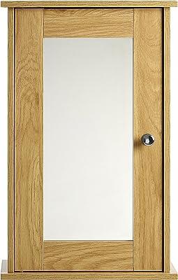 Premier Housewares Portland Armoire Muraleavec Miroir, chêne