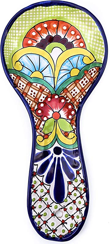 Unique Hand Painted Large Talavera Ceramic Spoon Rest For Mexican Style Kitchen Decor Accesories Colorful Green Floral Design Utensil Holder