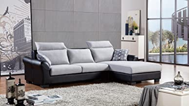 American Eagle Furniture Fulton Collection Fabric and Faux Leather Living Room Sectional Sofa, Gray/Black