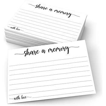 """321Done Share a Memory Card (50 Cards) 4"""" x 6"""" - for Celebration of Life Birthday Anniversary Memorial Funeral Graduation Bridal Shower Game - Made in USA - White"""