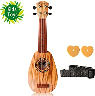 UKUALAA Soprano Ukulele 17-inch Acoustic Toy Guitar for Kids with The Picks, Strap and in Wood Color