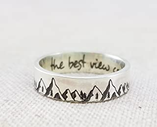 Sterling Silver Mountains Ring · Inspiration Ring · Tree Ring · Mountain Jewelry · Wedding band · The Best View Comes After The Hardest Climb · Select Size · By Emily Jane Designs