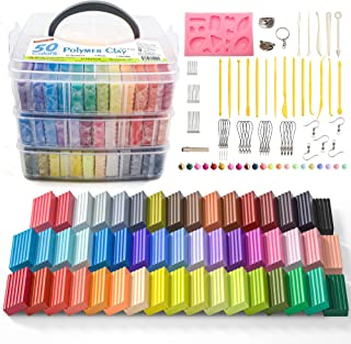 Polymer Clay, Shuttle Art 50 Colors 1.3 oz/Block Soft Oven Bake Modeling Clay Kit, 19 Tools and 10 Kinds of Accessories, N...