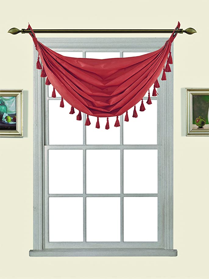 GorgeousHome (M12) BRICK 1pc Solid Elegant Faux Silk Swag Waterfall Antique Grommets Dressing Small Window Valance, w/ Fringes Tassel 50