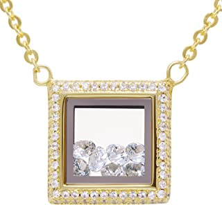 Evan Jewels, EV9-9041 Fashion Square locket Glass Pendant Necklace with Loose Crystals inside in Sterling Silver