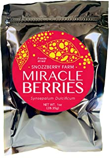 New Larger 1oz Package Miracle Berries by the Snozzberry Farm, Contains 175 berry halves, freeze dried 100% Miracle fruit, Non-GMO, Grown in the USA, Makes sour sweet