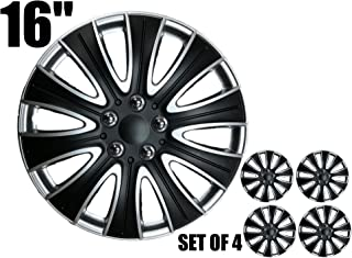 Tampa Hubcaps Black and Silver Wheel Covers (16, Silver & Black)