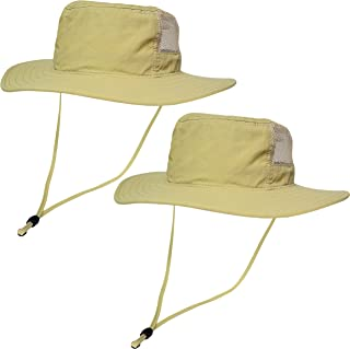 9ac478491702e Kids Outdoor Boonie Sun Hat 2 Pack – Sunlight Blocking Hat with Chin Cord  and 270° Mesh for Children and Teens – Wide Brim Waterproof Bucket Hat  Fishing