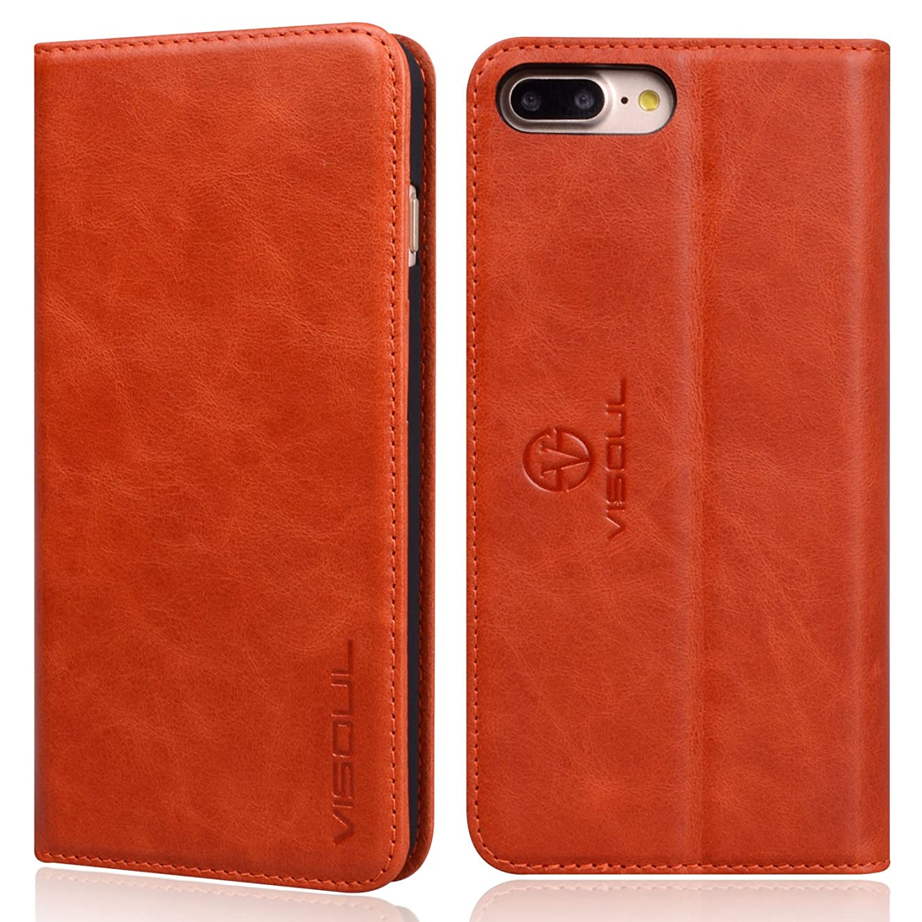 iPhone 7 Plus Wallet Case, VISOUL Genuine Leather Luxury Case, Slim Folio Book Design with Stand and 3 Card Slots, Magnetic Closure Protective Case for Apple iPhone 8 + / 7 + (Orange)