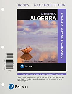 Elementary Algebra: Concepts and Applications, Books a la Carte Edition with Integrated Review and Worksheets Plus Mylab M...