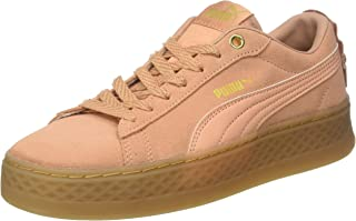 Puma Women's Smash Platform Frill Low-Top Sneakers, Dusty Coral-Dusty Coral-Puma Team Gold, 7.5 UK