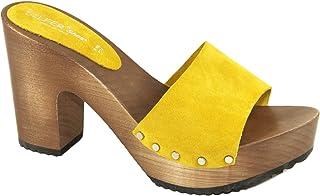 Silfer Shoes Zoccolo Donna - Made in Italy - Sandali Donna - Artigianale - Zoccolo in Vero Legno e Pelle di camoscio, Colo...