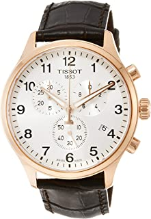 Tissot Men's Chrono XL 316L Stainless Steel case with Rose Gold PVD Coating Swiss Quartz Leather Strap, Brown, 22 Casual Watch (Model: T1166173603700)