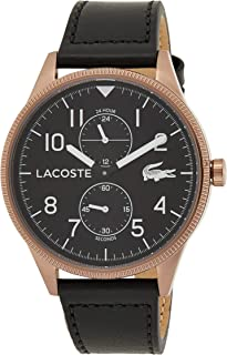 Lacoste 2011042 Leather Contrast Bezel Round Analog Watch for Men - Black