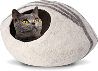 pedy 19 Cat Cave Bed Large,  Premium Handmade Natural Wool Self Warming Cat Cubby Enclosed for Cats and Kittens