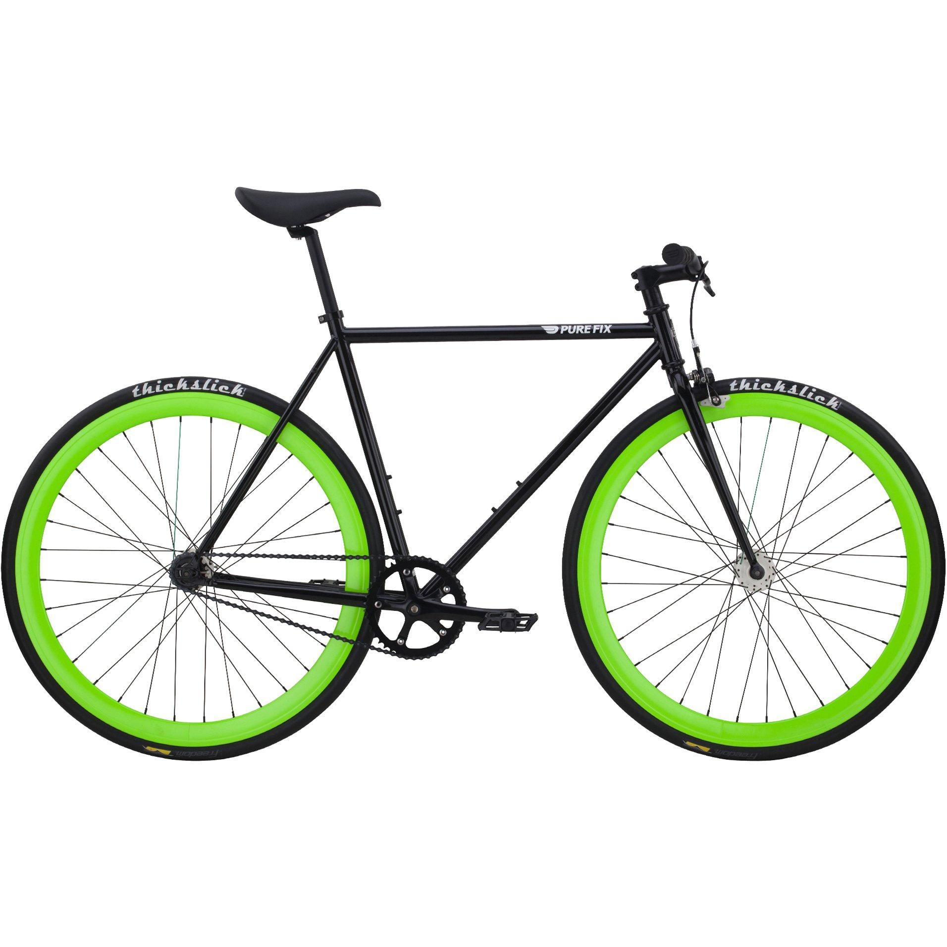 Pure Fix Cycles Fixie The Hotel-Fixed Gear Fahrrad Felgen Leuchten im Dunkeln mit einem Gang - Bicicleta de Carretera, Color Negro, Talla 50 cm/Small: Amazon.es: Deportes y aire libre